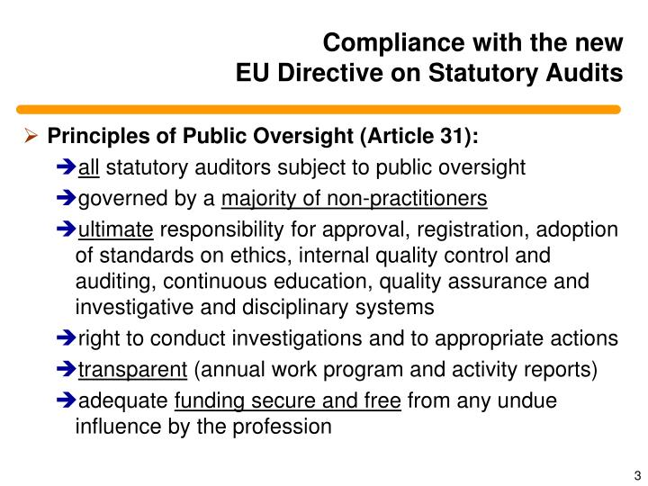 Compliance with the new eu directive on statutory audits