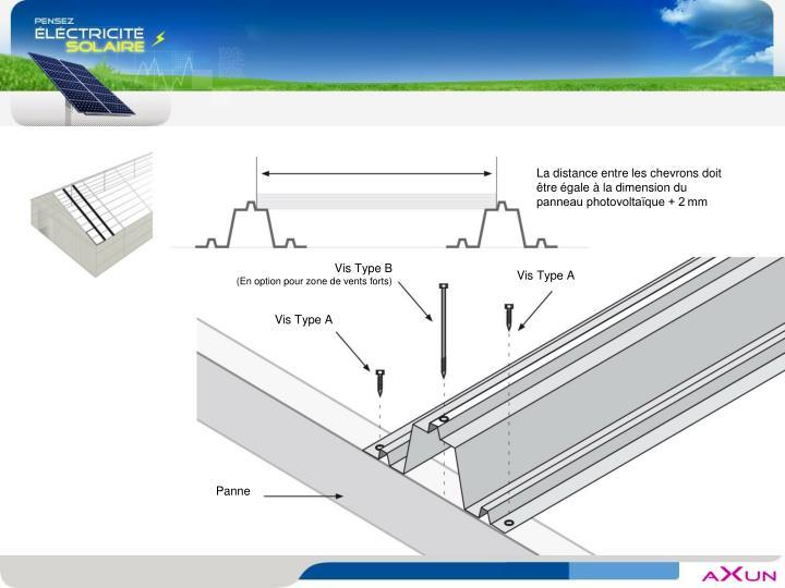 La distance entre les chevrons doit être égale à la dimension du panneau photovoltaïque + 2mm
