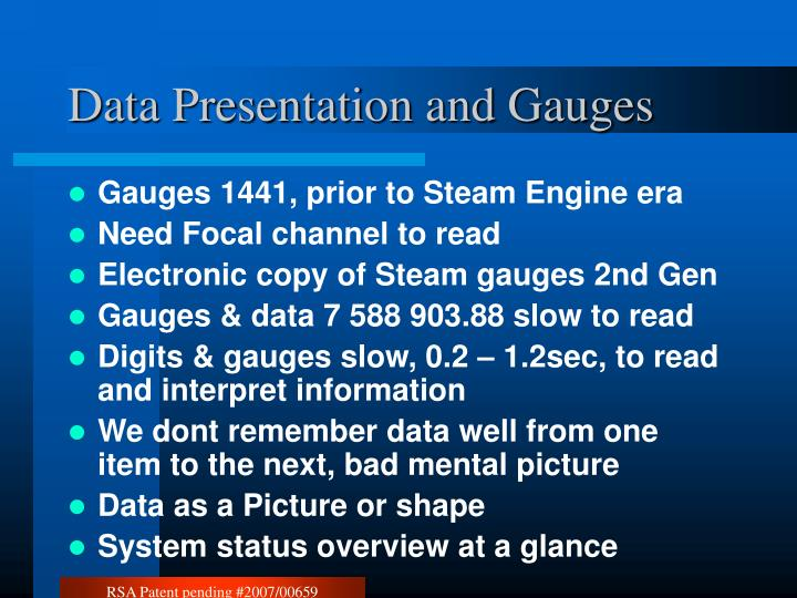 Data Presentation and Gauges
