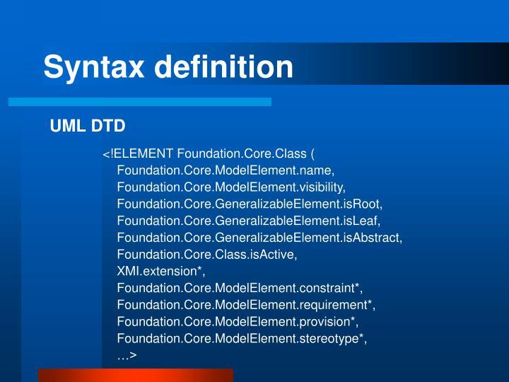 Syntax definition