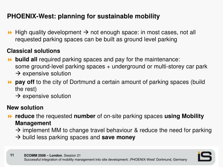 PHOENIX-West: planning for sustainable mobility