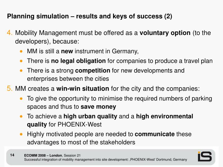 Planning simulation – results and keys of success (2)
