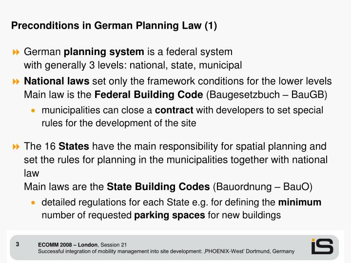 Preconditions in German Planning Law (1)