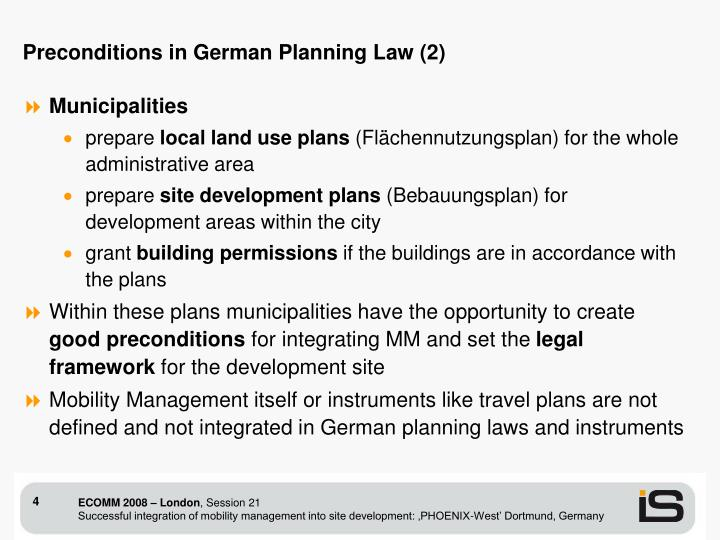 Preconditions in German Planning Law (2)
