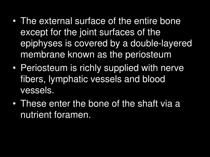 The external surface of the entire bone except for the joint surfaces of the epiphyses is covered by a double-layered membrane known as the periosteum