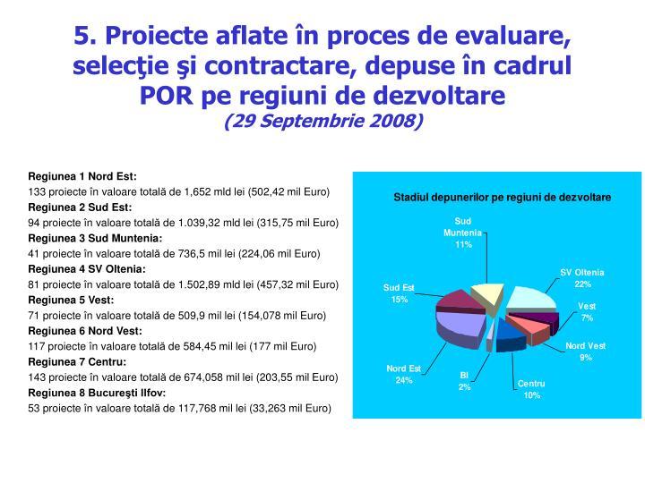 5. Proiecte aflate în proces de evaluare, selecţie şi contractare, depuse în cadrul POR pe