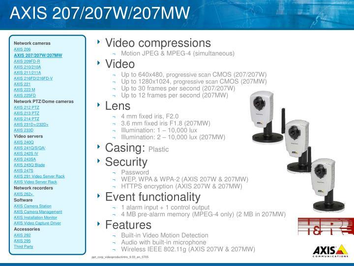 AXIS 207/207W/207MW
