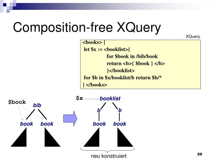 Composition-free XQuery