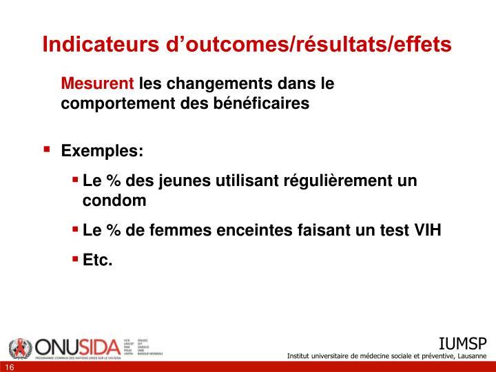 Indicateurs d'outcomes/résultats/effets