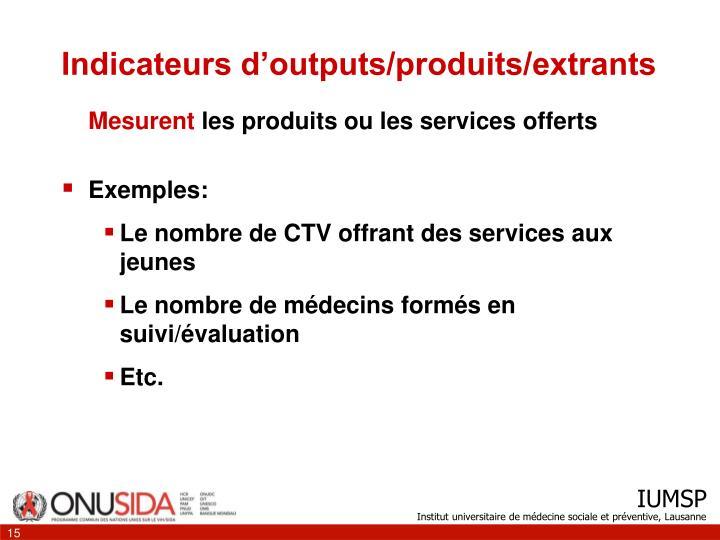 Indicateurs d'outputs/produits/extrants