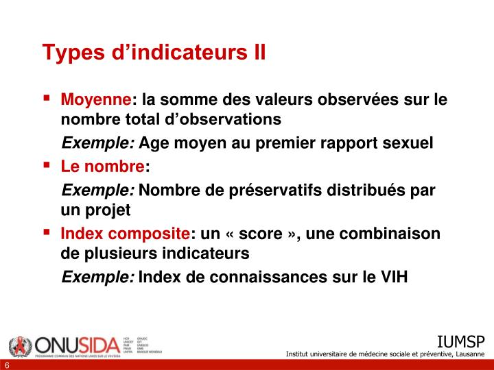 Types d'indicateurs II