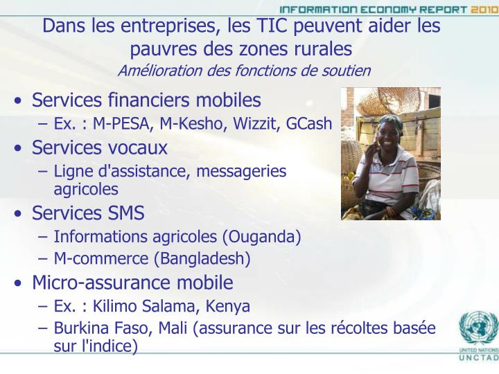Dans les entreprises, les TIC peuvent aider les pauvres des zones rurales