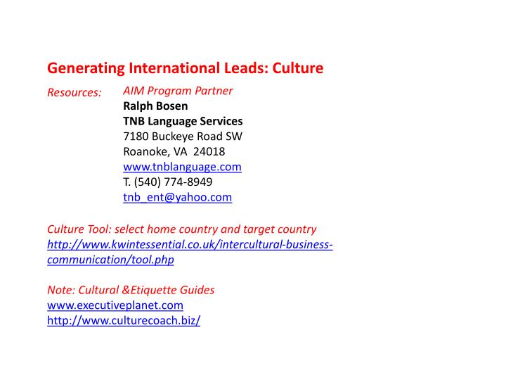 Generating International Leads: Culture