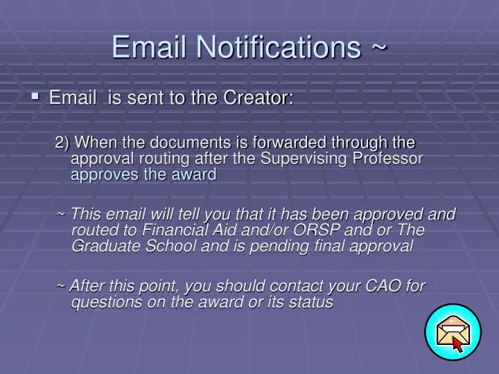 Email Notifications ~
