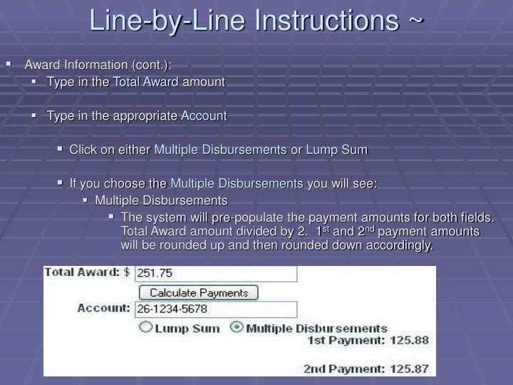 Line-by-Line Instructions ~