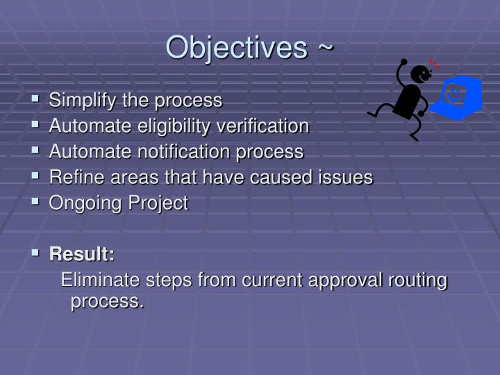 Objectives ~