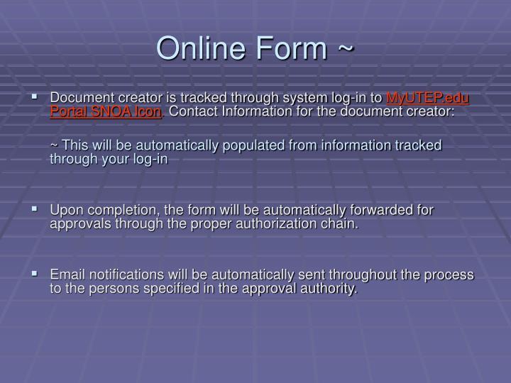 Online Form ~