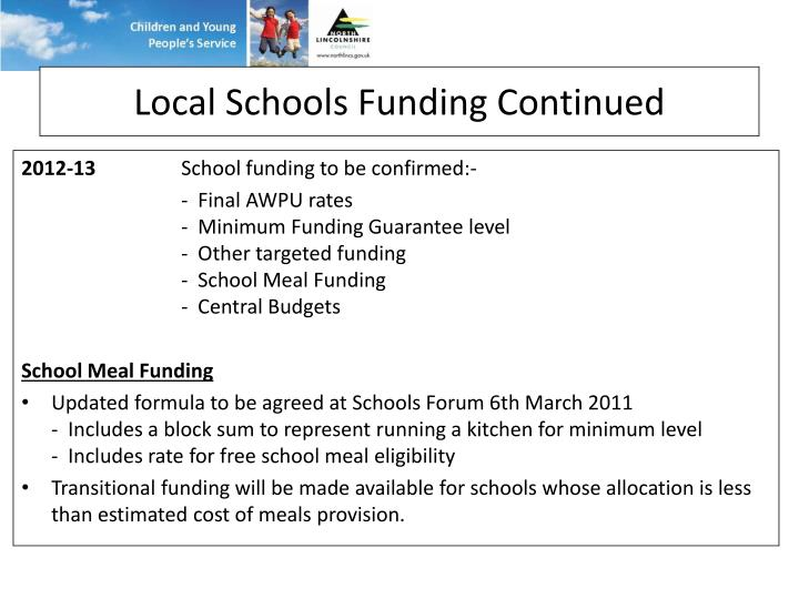 Local Schools Funding Continued