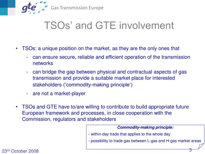 Tsos and gte involvement