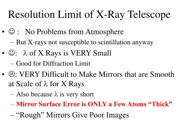 Resolution Limit of X-Ray Telescope