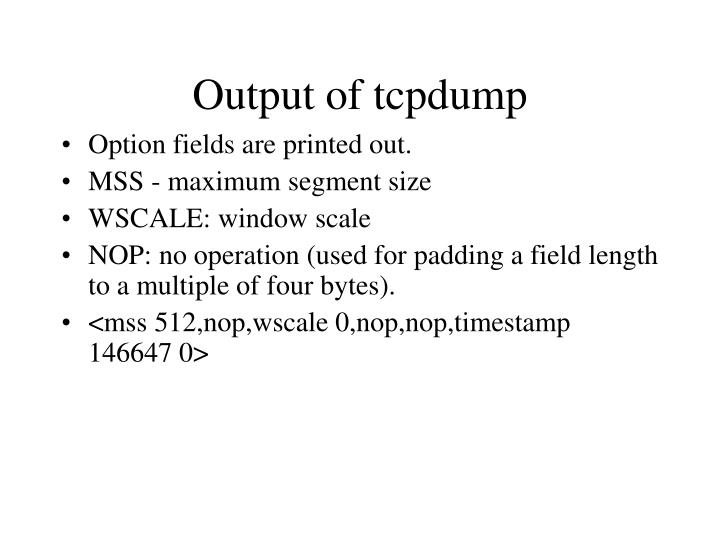 Output of tcpdump