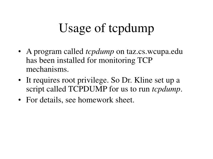 Usage of tcpdump