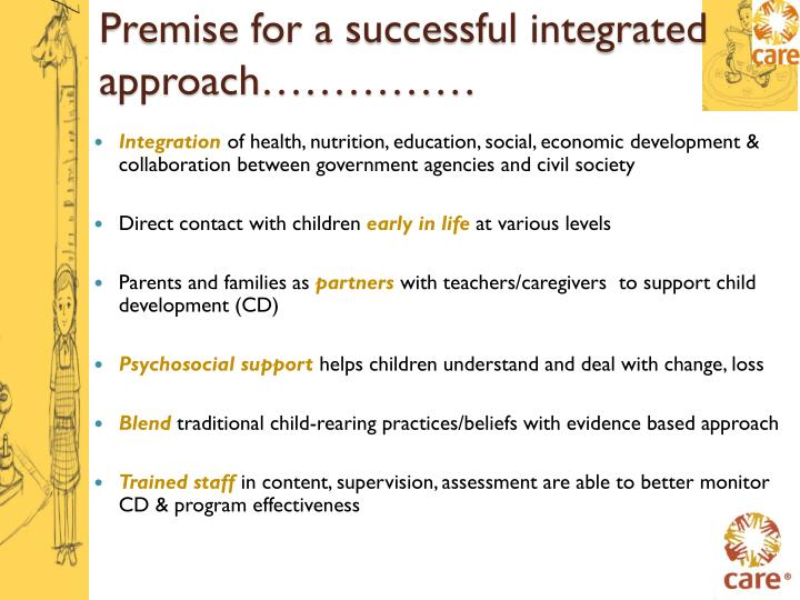 Premise for a successful integrated approach……………
