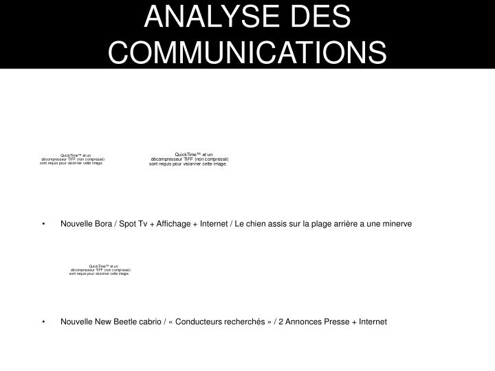 ANALYSE DES COMMUNICATIONS