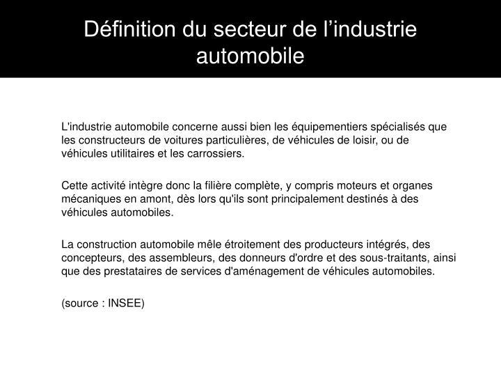 Définition du secteur de l'industrie automobile