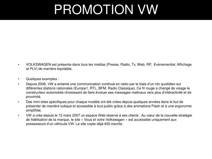 PROMOTION VW