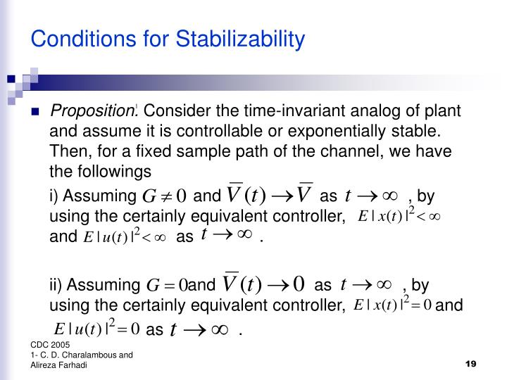 Conditions for Stabilizability