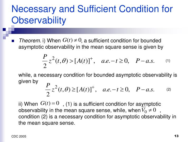 Necessary and Sufficient Condition for Observability
