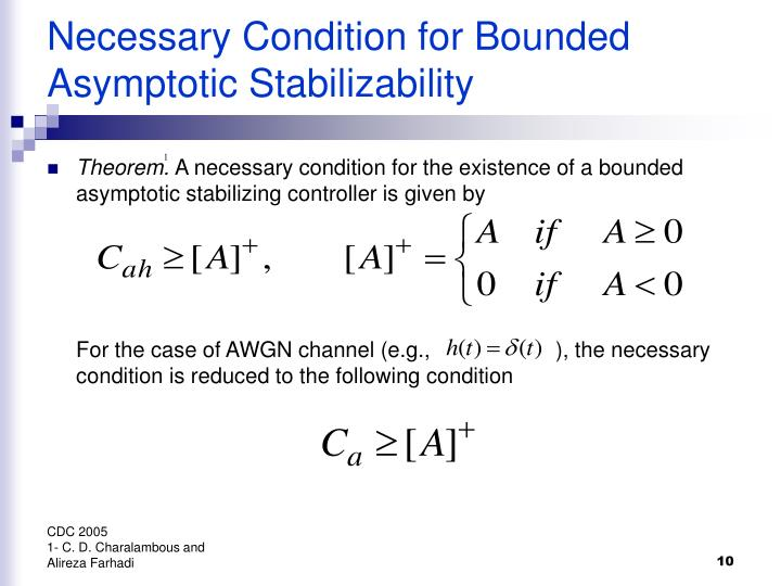 Necessary Condition for Bounded Asymptotic Stabilizability