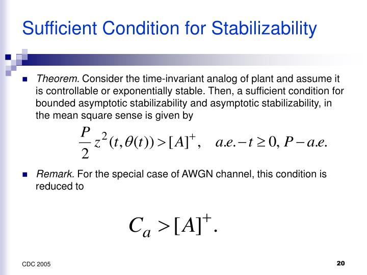 Sufficient Condition for Stabilizability