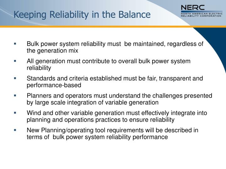 Keeping Reliability in the Balance