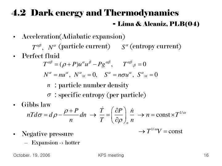4.2  Dark energy and Thermodynamics