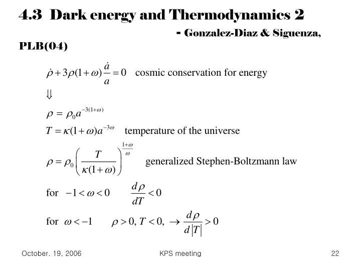 4.3  Dark energy and Thermodynamics 2