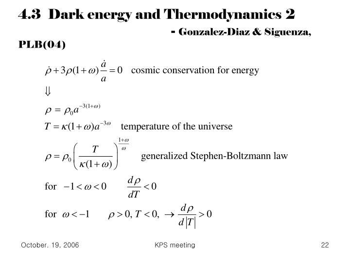 4.3  Dark energy and Thermodynamics 2