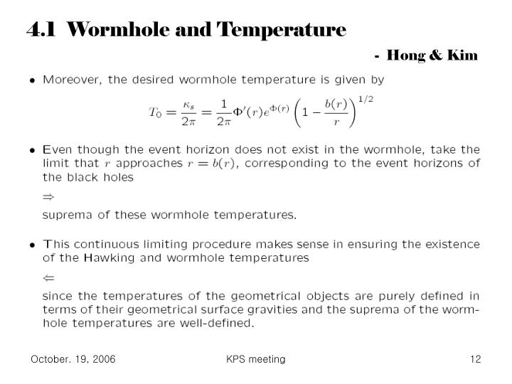 4.1  Wormhole and Temperature