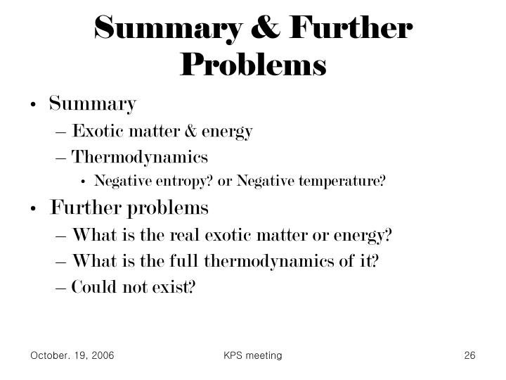 Summary & Further Problems