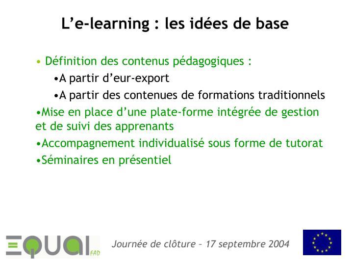 L'e-learning : les idées de base