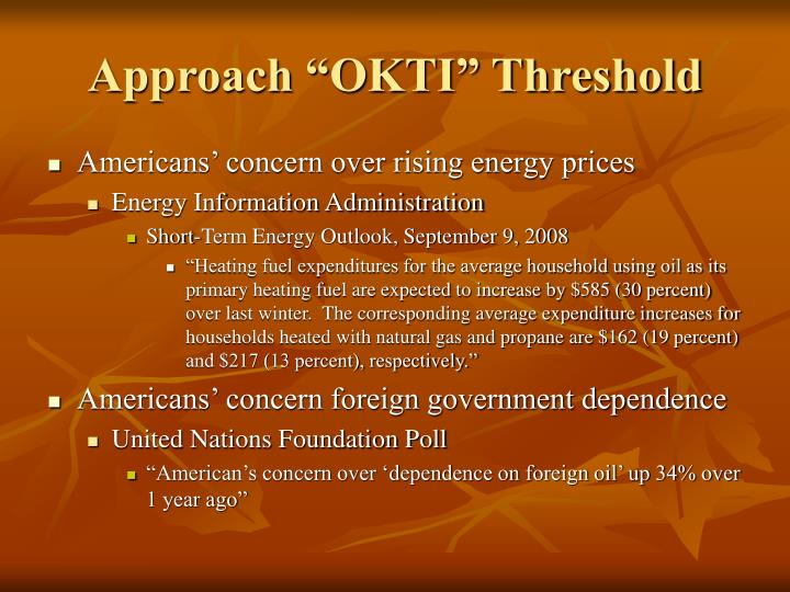 "Approach ""OKTI"" Threshold"