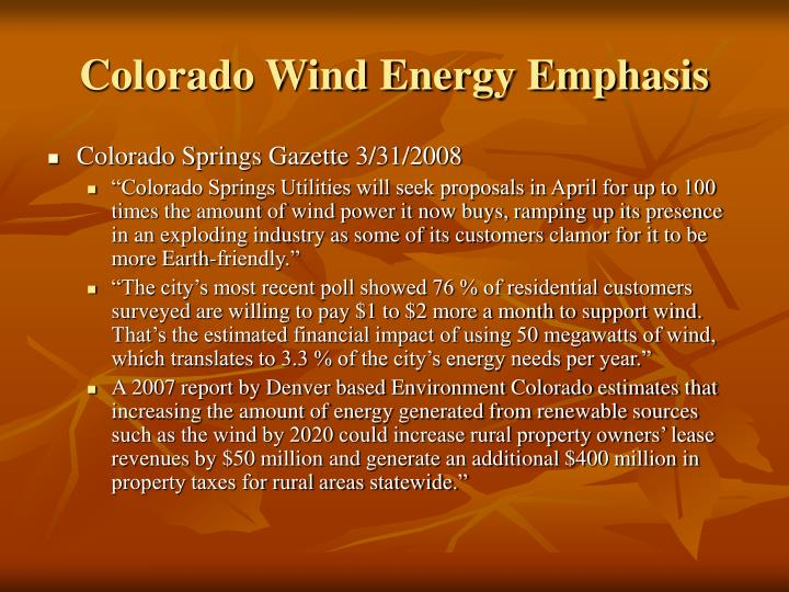 Colorado Wind Energy Emphasis