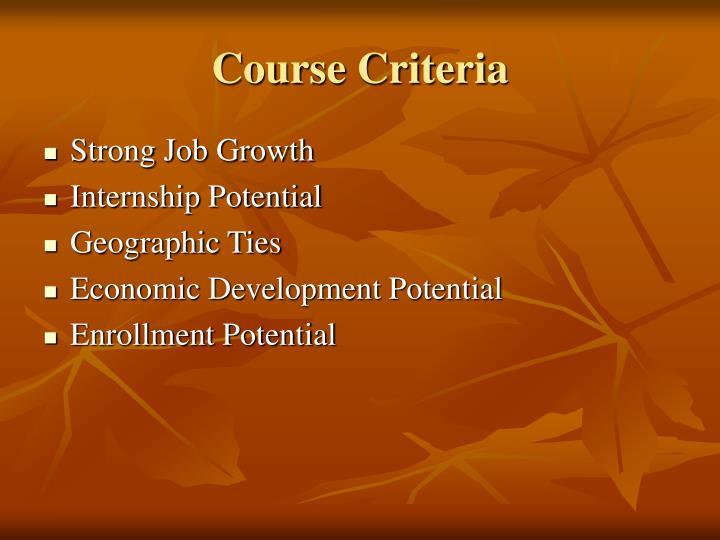 Course Criteria