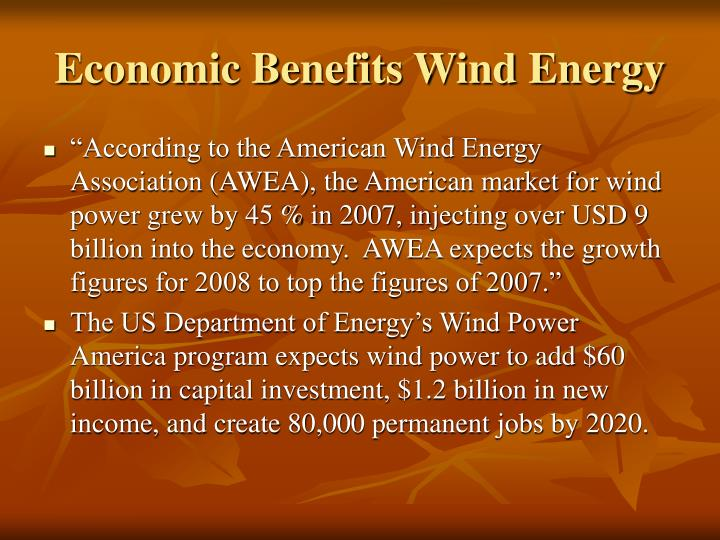 Economic Benefits Wind Energy