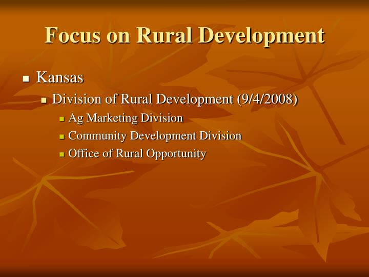 Focus on Rural Development