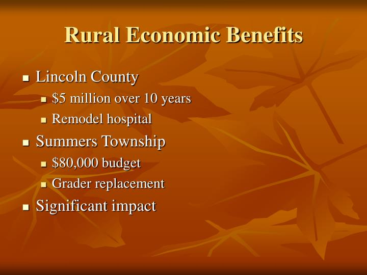 Rural Economic Benefits