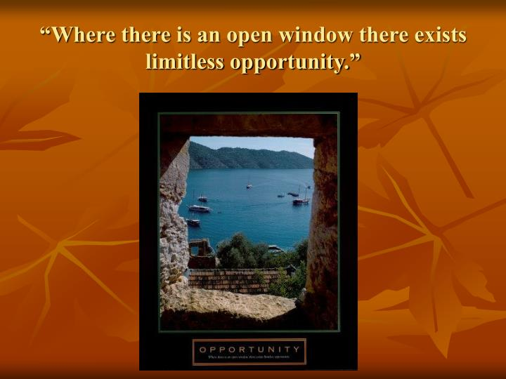 """Where there is an open window there exists limitless opportunity."""