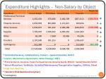 expenditure highlights non salary by object