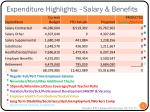 expenditure highlights salary benefits